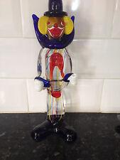 "11 & 3/4"" approx Murano Glass Clown - Red,Blue, Yellow pin stripe - 1950-1970"