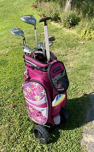 hybrid Reise Golftasche Golfbag Standbag Räder Pink geblümt Blumen Trolley NP500
