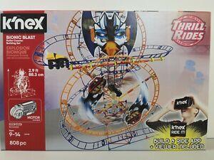 NEW K'nex Bionic Blast Roller Coaster Building Set 808 Pcs w/APP Thrill Rides