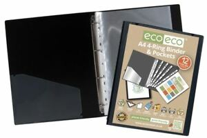 eco-eco A4 65% Recycled Strong Black Presentation Ring Binder + 12 Free Pockets