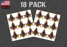 "18 Pack Masonic Compass Sticker Decal - 1"" License Plate Decal (18PKmasonic)"