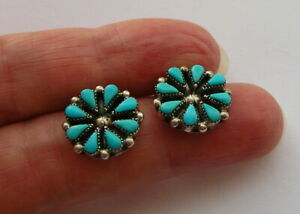 FABULOUS SOLID SILVER TURQUOISE FLOWER CLIP-ON EARRINGS - VGC