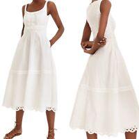 J Crew Scoopneck Midi Dress Eyelet Trim White Size Petite Large Cotton New
