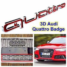 Audi QUATTRO RED Grill Badge Logo Emblem RS4 RSQ3 A4 A6 A8 S3 S5 Q5 Q7 SQ5 TT R8