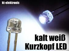 100 Stück LED 5mm straw hat kalt weiß, Kurzkopf, Flachkopf