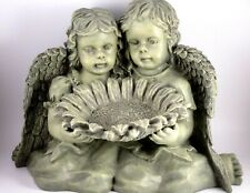 "Grey Resin Angel Bird Bath ACTCO 8.5""x12"" Outdoor Garden Yard Statue Bird Bath"