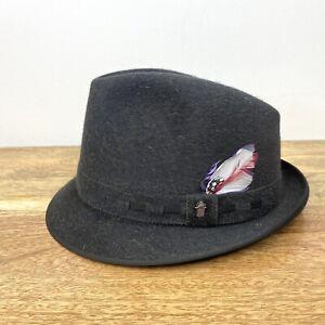 Akubra Gleneagle Pure Fur Pelt Fedora Trilby Hat Grey Feather Size 6 3/4