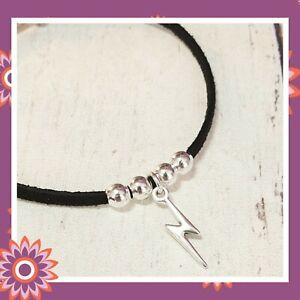 Black Suedette Lightning Bolt Bracelet Faux Suede Gothic Punk Adjustable Gift