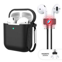 3-in-1 For Apple AirPods 1 / 2 Silicone Case Cover + Keychain + Magnetic Strap