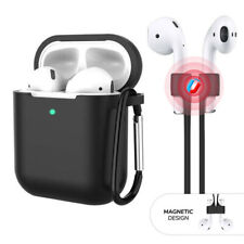 3-in-1 AirPods Silicone Case Cover Magnetic Strap Keychain for Apple AirPod 1/2
