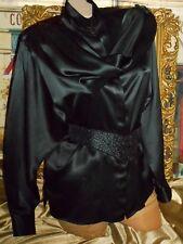 USA 10 Black Silk Satin Blouse Draping Shoulder Scarf Sash Batwing High Neck