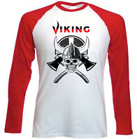VIKING SKULL - NEW RED SLEEVED TSHIRT