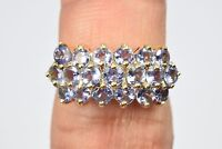 Women's SOLID 10K Yellow Gold AAA Tanzanite 2.0 ctw Cluster Natural Mined