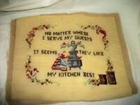 VINTAGE COMPLETED NEEDLEPOINT KITCHEN MOTTO YELLOW PILLOW TOP FRAME MID CENTURY