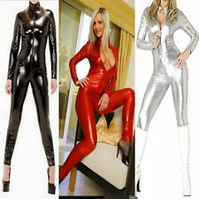 Womens Wetlook Vinyl PVC catsuit bodysuit Jumpsuit clubwear Zipper Front Costume