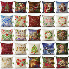 Christmas Xmas Home Decor Santa Claus Deer Cushion Cover Waist Pillow Case Gifts