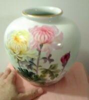 Noritake Nippon Toki Kaisha Mum Floral Hand Painted Vase Signed