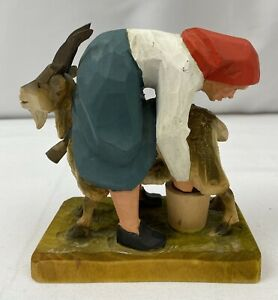 Henning Wood Carving Norway Folk Art Troll Gnome Goat & Lady Hand Carved
