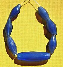 Antique European Russian Blue Czech Bohemian Rare Shape Beads From African Trade