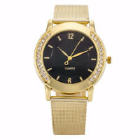 Fashion Women Crystal Golden Stainless Steel Analog Quartz Wrist Bracelet Watch