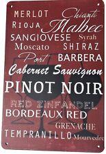 Vin Signe Métal Tin plaque Signes Vintage Cafe Pub Bar Garage Rétro Cuisine bistro