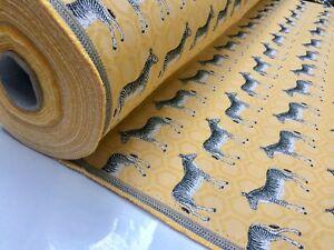 MUSTARD ZEBRA Jacquard Cotton Fabric Upholstery Material animal cloth 140cm wide
