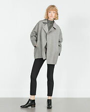 ZARA GREY OR SAND HAND MADE WOOL SHORT COAT BUTTON SIZE M (ONE SIZE) NEW TAGS
