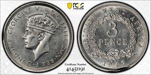 1947-KN British West Africa 3 Pence PCGS AU58 Kings Norton Mint Proof