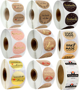 Hand Made With Love Stickers Handmade Homemade Labels Heart Round Craft 25mm