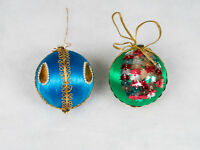 Vintage Silk Satin Sheen Styrofoam Hand Decorated Christmas Tree Ornaments Balls