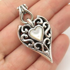 925 Sterling Silver Vintage Real Mother-Of-Pearl Swirl & Heart Pendant