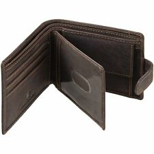 Distressed Leather Wallet With Coin Pocket & Oyster Card / Travel Pass Window