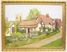 Vintage 1986 Original Painting Acrylic On Wood Scenic Tudor Cottage J Wyatt