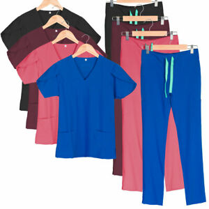 Women's 8-Pocket Scrub Set in 4-way Stretch Fabric, V-neck Top w/ Tulip Sleeve