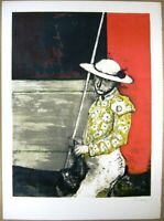 "Jean Jansem Lithograph "" Picador "" Hand Signed Limited Sheet F/S From Japan"
