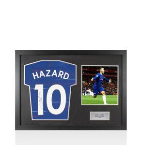 Framed Eden Hazard Signed Chelsea Shirt, 2018/2019, Number 10 - Panoramic Compac