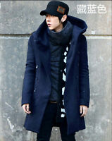 Mens Fashion Korean Winter Warm Parka Coat long Hooded double-breasted Jacket