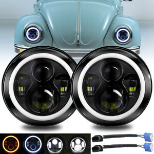 """7"""" Inch Round LED Headlight Projector Halo Angle Eyes for VW Beetle 1967-1979"""
