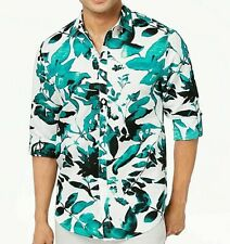 INC New M Men's Teal Green White Floral Hawaiian Style Linen Blend Shirt $69 NWT