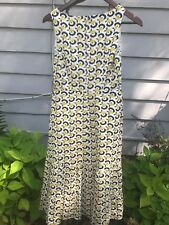 d6a5c52651b Boden Sz 4P Paisley Dress Snake Belt Waist Sleeveless Navy Blue Yellow
