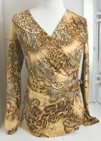 Woman's CACHE Brown Blouse Abstract Pattern Long Sleeve Size Medium M