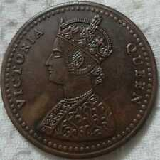 1818 Victoria queen 2 two Anna east India company rare palm size temple coin