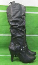 "NEW ladies  Black 3.5""High Heel Belt Stud Sexy Knee Boots Size 5.5"