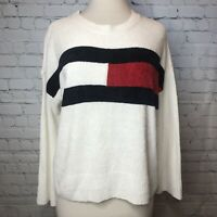 Tommy Hilfiger Flag Chenille Crewneck Sweater White/Red/Blue Women's Size Medium
