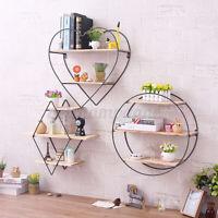 3 Tier Vintage Home Wall Unit Wood Metal Industrial Shelf Storage Rack USA ♡