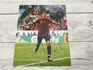 David Villa Signed Team Spain 8x10 Photo PROOF Autographed Barcelona FC c