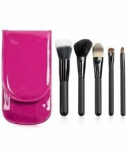 Macy's 5 Piece Travel Make-up Brush Set With Pink Travel Carrying Case NWT