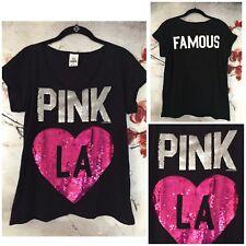 Rare Limited Ed Victorias Secret Pink �� La Famous Back Sequins Black T-Shirt-M