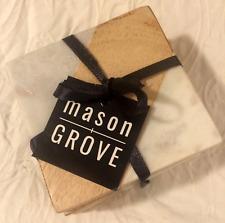 Mason Grove Marble & Wood Coasters Set of 4 White/Brown