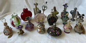 Lot of 18 Vintage Antique Perfume Bottles Murano Glass Crystal Pewter Gemstone